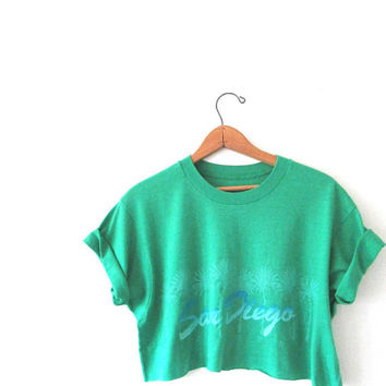 Wms Vintage 1980s SAN DIEGO California Palm Tree Crop Top Tshirt Sz L