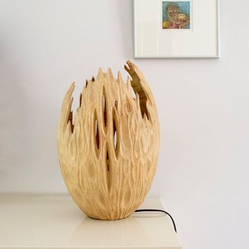Floor lamp - Hancarved - Mango wood