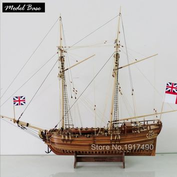 Wooden Ship Models Kits Diy Educational Toy Model Boats Wood 3d Laser Cut Scale 1/50  Hobby Halifax 1768 Resolution Full Rib Kit