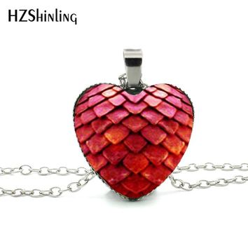 New Dragon Egg Heart Pendant Glass Game of Thrones Heart Jewelry Silver Heart Shaped Necklaces HZ3