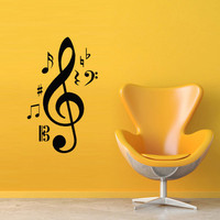 Wall decal decor decals art sticker note music romance song key treble clef (m427)