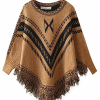 Geometric Print Long Sleeves Tassel  Knitted Poncho Sweater