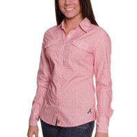 Cutter & Buck Atlanta Braves Womens Gridiron Striped Rolled Sleeve Button Up-Shirt - Red