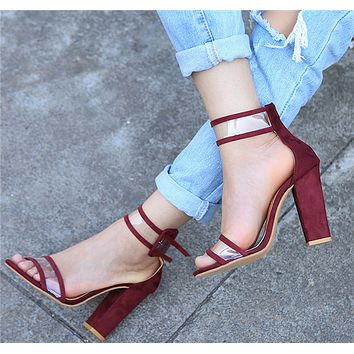 Women Fashion Suede Transparent Rough Heel Sandals Heels Shoes