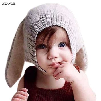 Baby Rabbit Ears Hat Infant Toddler Winter Knitted Caps for Children Baby Bunny Beanie Hats Accessories Photography Props