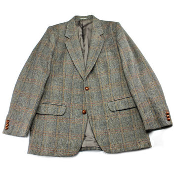 Vintage 1980s 80s 1985 Wool Windowpane Print Tweed Sport Coat Menswear Jacket Mens Size 36R