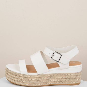 Double Band Buckled Ankle Strap Jute Wedge Sandals