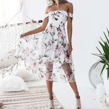 Women Summer Beach Dresses 2019 Floral Printed Off Shoulder Elegant Ladies Organza Floral Vestido Party Vestidos WS5272Y