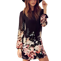 Chiffon Long Sleeve Cocktail Party Beach Summer Mini Dress Flower Pattern  Dress