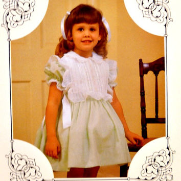 Vintage Girls Special Occasion Dress Pattern Full Skirt Detachable Bib Ties Toddlers 80's Heirlooms Only Sewing Patterns Uncut Sizes 1 2 3