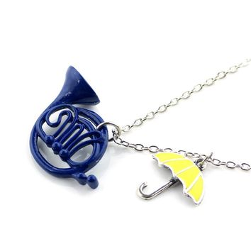 New Style How I Met Your Mother The Blue French Horn Necklace Pendant Yellow Umbrella With Silver Chain TV Jewelry For Women