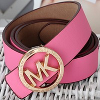 MK 2018 new men's casual smooth buckle pants with round letter clasp F0724-1 Pink