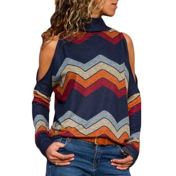 2018 Autumn Women Sweater Sexy Cold Shoulder Turtleneck Pullover Sweater Striped Print Loose Casual Sweaters Ladies Jumpers Tops