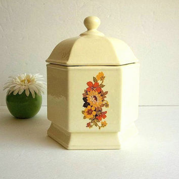 Vintage ceramic pale creamy ivory yellow biscuit jar canister w lid orange peach brown yellow floral canister cookie pedestal jar storage