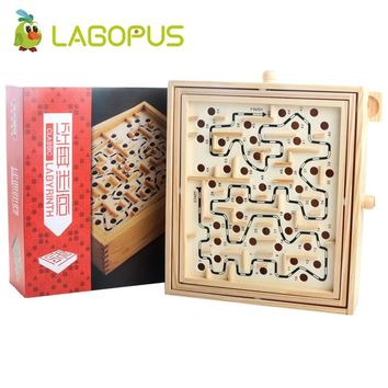 Lagopus Maze Board Labyrinth Board Wooden Toys With Rotate button Steel ball Children Educational Toys