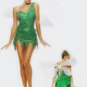 ONETOW Halloween costumes for women elf Tinker Bell cosplay costume Fairy Princess dress Elves fancy dress kids clothes with wings
