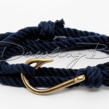 Navy Nautical Cotton Fish Hook Bracelet for Men or Women - Silver Bronze Black or Gold