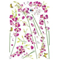 Orchid Tree Branch Stem Flower Butterfly Wall Decal
