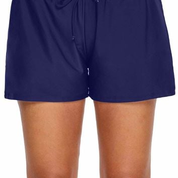 Navy Blue Elastic Drawstring Swim Shorts for Women