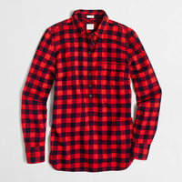Plaid popover shirt in flannel in perfect fit