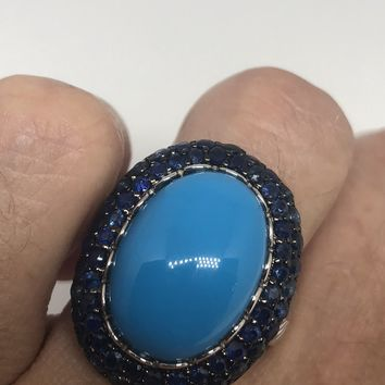 Vintage Pursian Turquoise and Sapphire Gemstone 925 Sterling Silver Statement Ring