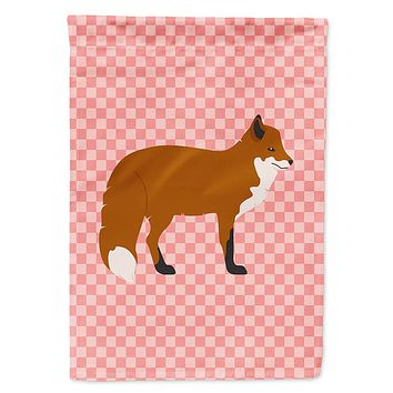 Red Fox Pink Check Flag Garden Size
