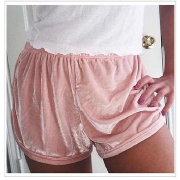 ICIKNY6 Summer Multiple Colour Women Soft Velvet Shorts Sexy Flannel Fashion Hipster Fit Elastic Waist Outwear