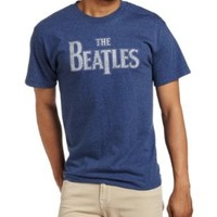 FEA Merchandising Men's The Beatles Vintage Logo Tee, Denim Heather, Large