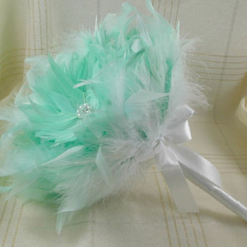 Bridal Bouquet,  Wedding Bouquet, Feather Bouquet, Mint Feather Bouquet, Mint Bouquet, Brooch Bouquet, Art Deco