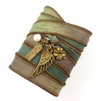 Silk Wrap Bracelet with Angel Wing, Four Leaf Clover, Believe Charm, and Freshwater Pearl