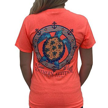 Southern Attitude Preppy Lil Snappy Turtle Coral T-Shirt