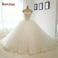 Luxury Ball Gown Princess Bridal Wedding Dress With Long Train 10 layers tulle