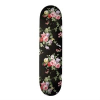 Vintage Elegant Girly Pink Red Trendy Roses Floral Skateboard