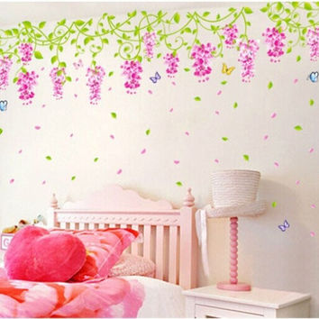 Wedding Bedroom Decor Decal Wisteria Flower Butterfly Lively Wall Home room Sticker Paper
