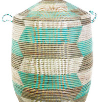 Large Aqua, Silver & White Laundry Hamper
