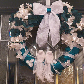 Teal and White Wedding Wreath, Bridal Shower Decoration, Wedding Decoration, Gift