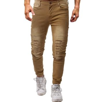 2018 new Men Jeans Stretch Destroyed Ripped Design Fashion  Zipper Skinny Jeans For Men