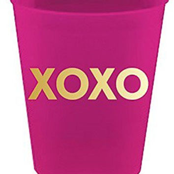 "Slant Collections ""XOXO"" Fuchsia Frosted Plastic Cups"
