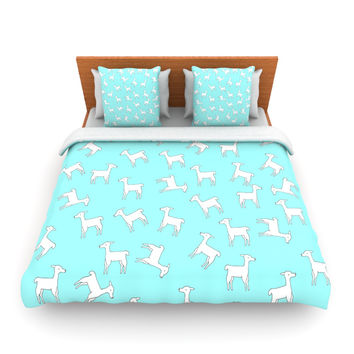 "Monika Strigel ""Baby Llama Multi"" Blue White Fleece Duvet Cover"