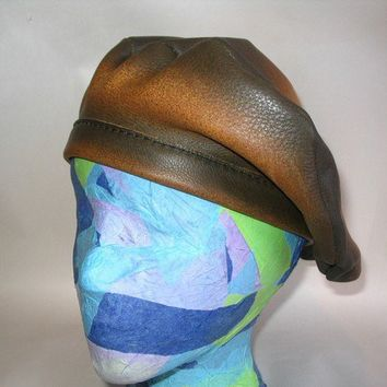 Custom Leather Beret in Genuine Leather Tam French Hat by dleather