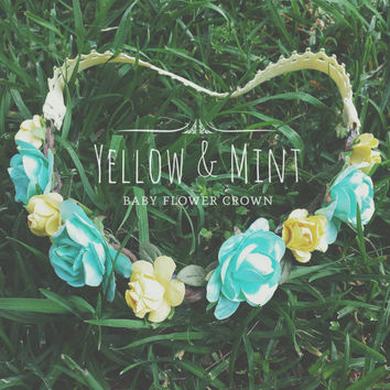 Baby Toddler mommy and me mint, yellow floral Headband for spring, summer, flower crown
