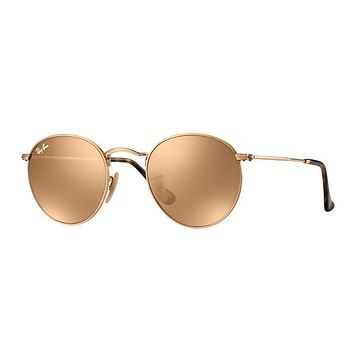 Ray Ban Round Metal Sunglass Gold with Rose Gold Mirrored Lenses RB3447N 001/Z2