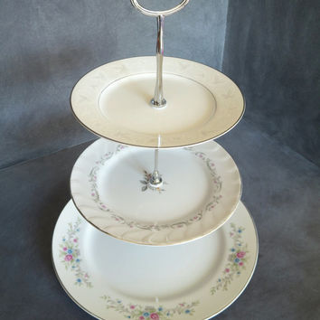 Easter Cake Stand, Spring Cake Plate, Floral Plate Stand, 3 Tiered Dish Stand, Tiered Cakestand, Wedding Plate Stand 169