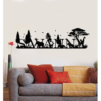 Vinyl Wall Decal Wild Animals Trees Jungle Letter Savanna Landscape Stickers Mural (g1550)