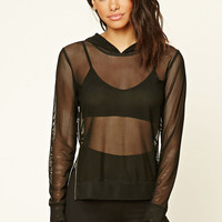 Hooded Open-Mesh Top