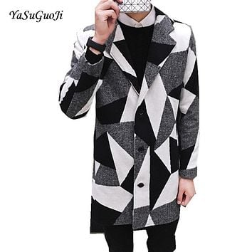New 2017 winter england style fashion color blocked plaid woollen coat men plus size long trench coat men sobretudo NDY7