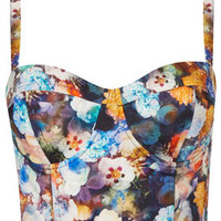 Multi Flower Print Corset - Cropped Tops & Bralets - Tops  - Clothing