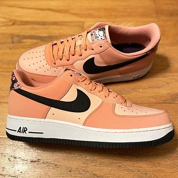 Nike Air Force 1 Low Fashionable Women Casual Sport Running Shoes Sneakers Pink&Black