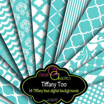 Tiffany Backgrounds set 2 tiffany blue digital by GreatGraphics