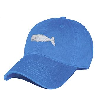 Whale Needlepoint Hat in Royal Blue by Smathers & Branson
